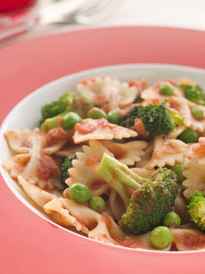 Bowtie pasta with roasted tomatoes and broccolini