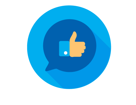 """A thumbs up icon within a quote bubble representing a """"like"""" on Facebook"""