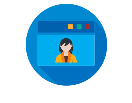 a graphic icon of a woman's profile picture in simple iconography with ymca colors